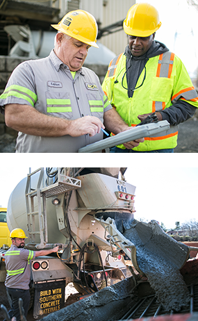 two men on concrete worksite